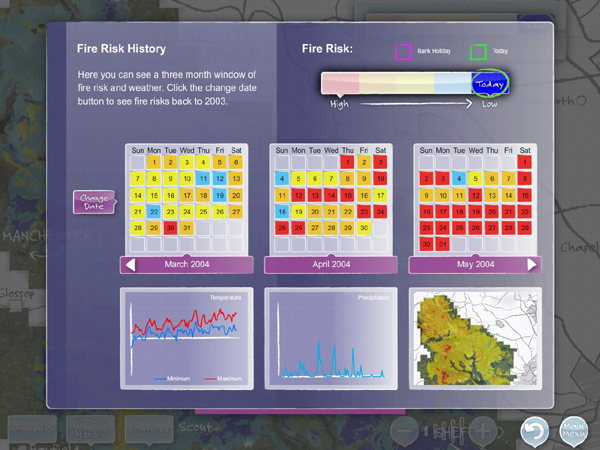 Fire risk history interactive installation for Moors for the Future