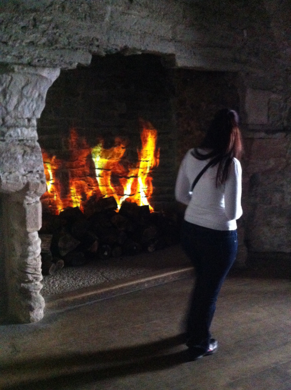 Interactive fire place exhibit at Conwy Castle